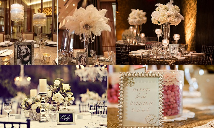 Vintage Glamour Wedding Table Decoration